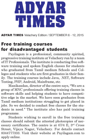 Payilagam in Adyar Times
